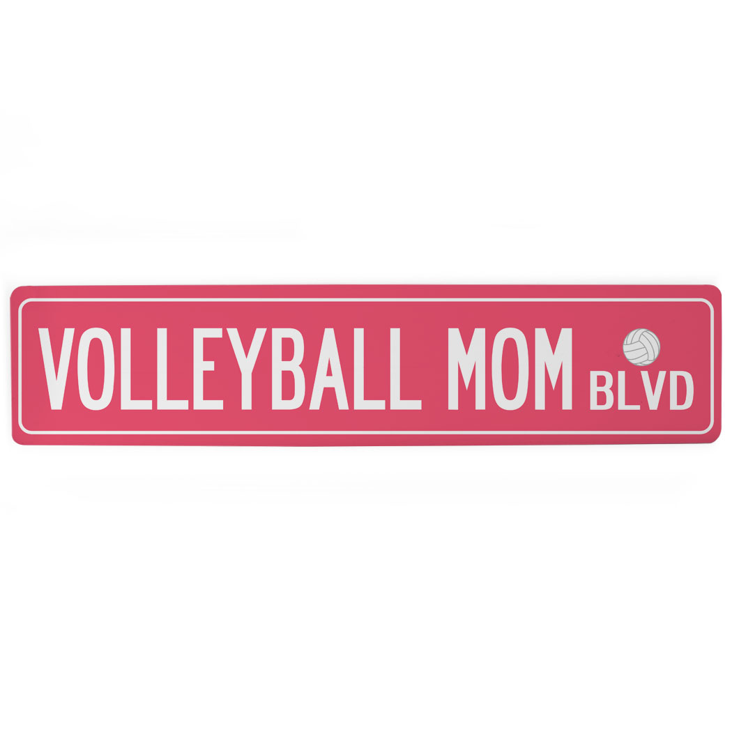 "Volleyball Aluminum Room Sign - Volleyball Mom Blvd (4""x18"")"