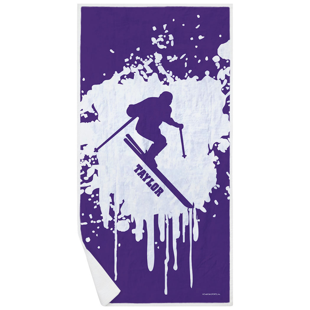 Skiing Premium Beach Towel - Silhouette with Splatter Background