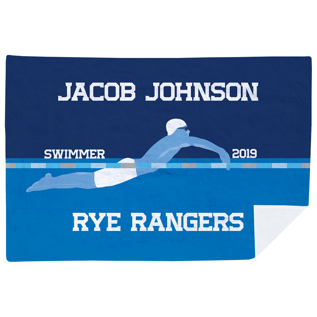 Swimming Premium Blanket - Personalized Swimming Guy Team - Personalization Image