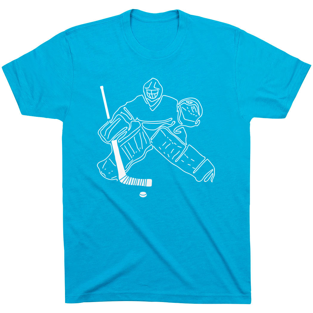 Hockey Short Sleeve T-Shirt - Hockey Goalie Sketch