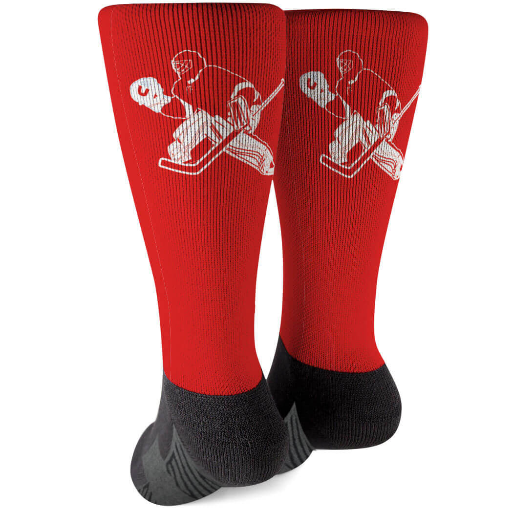 Hockey Printed Mid-Calf Socks - Goalie