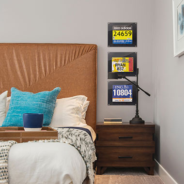 Race Bib Frames Above Your Nightstand