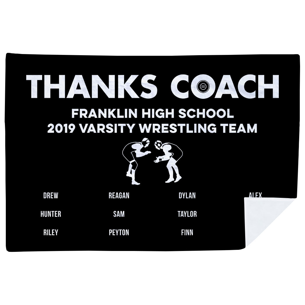 Wrestling Premium Blanket - Thanks Coach (Horizontal)