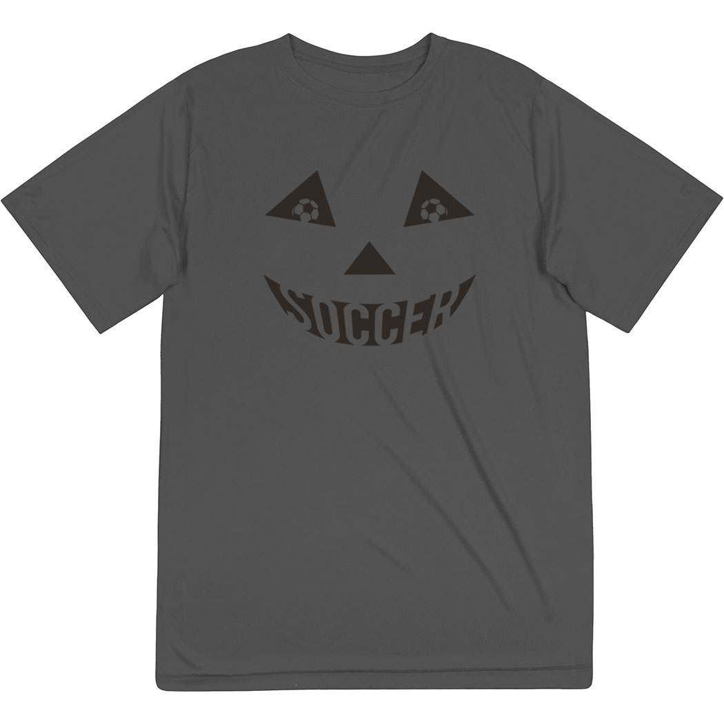 Soccer Short Sleeve Performance Tee - Soccer Pumpkin Face - Personalization Image