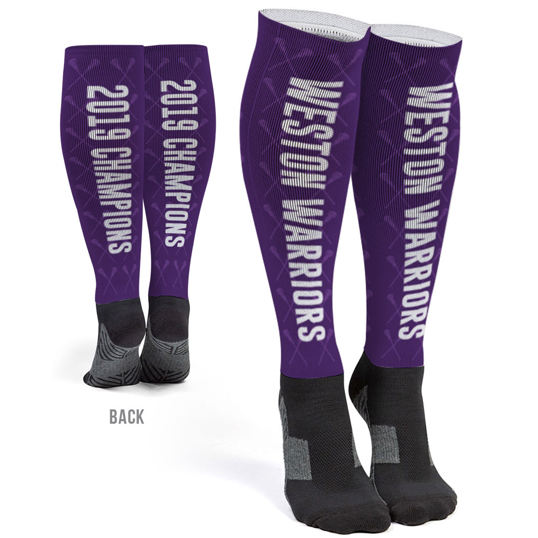 Girls Lacrosse Printed Knee-High Socks - Team Name