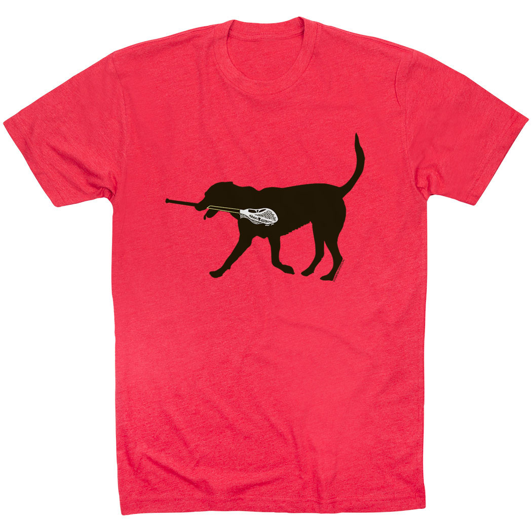 Guys Lacrosse Short Sleeve T-Shirt - Max The Lax Dog - Personalization Image