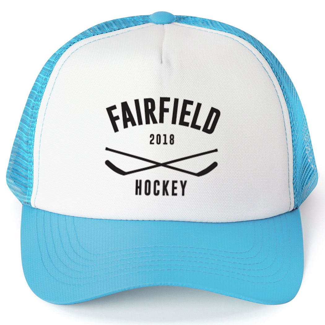 Hockey Trucker Hat - Team Name With Curved Text