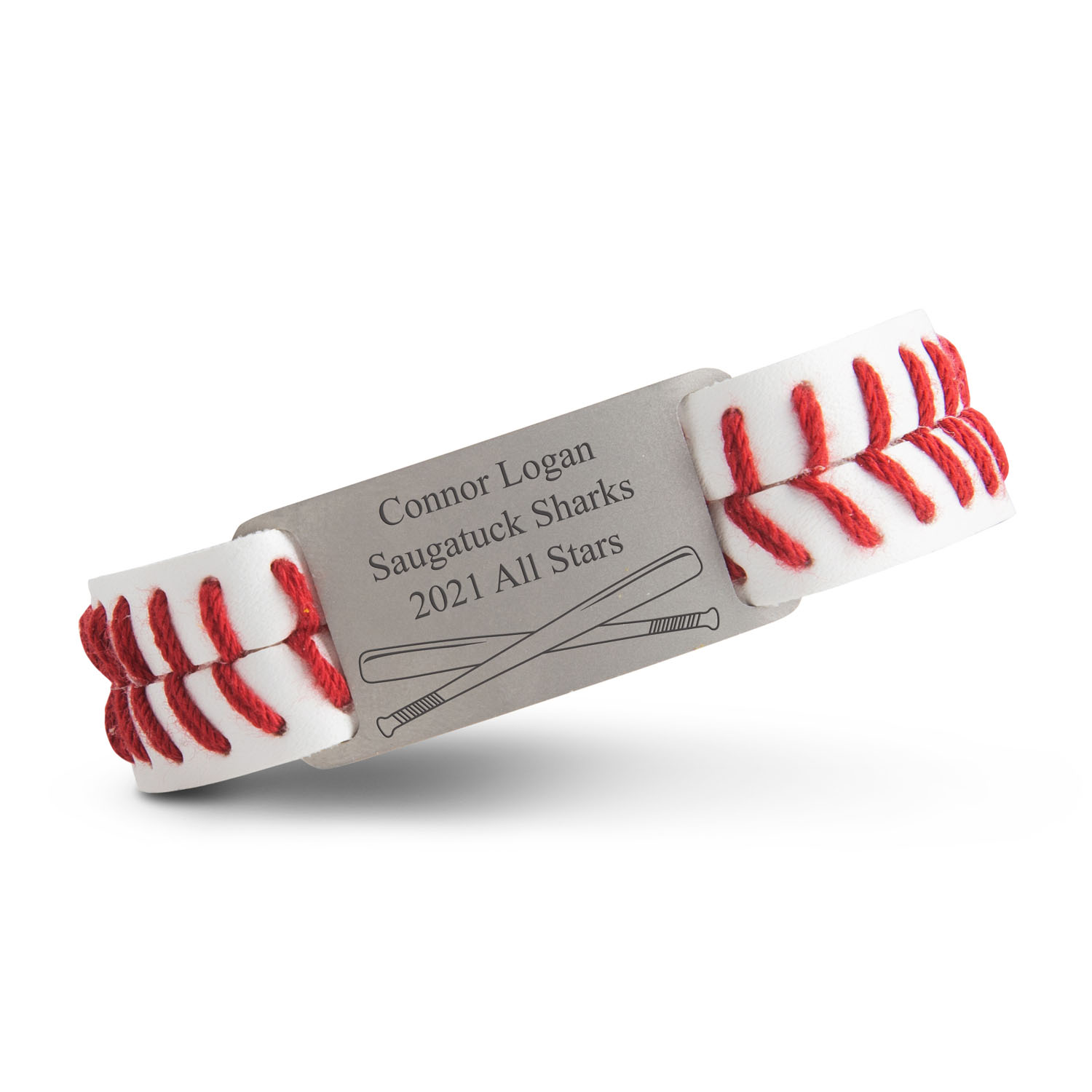 Authentic Baseball Leather Bracelet With Slider - Personalized Crossed Bats