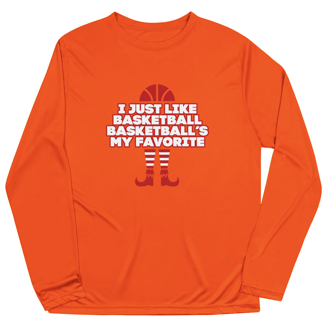 Basketball Long Sleeve Performance Tee - Basketball's My Favorite - Personalization Image