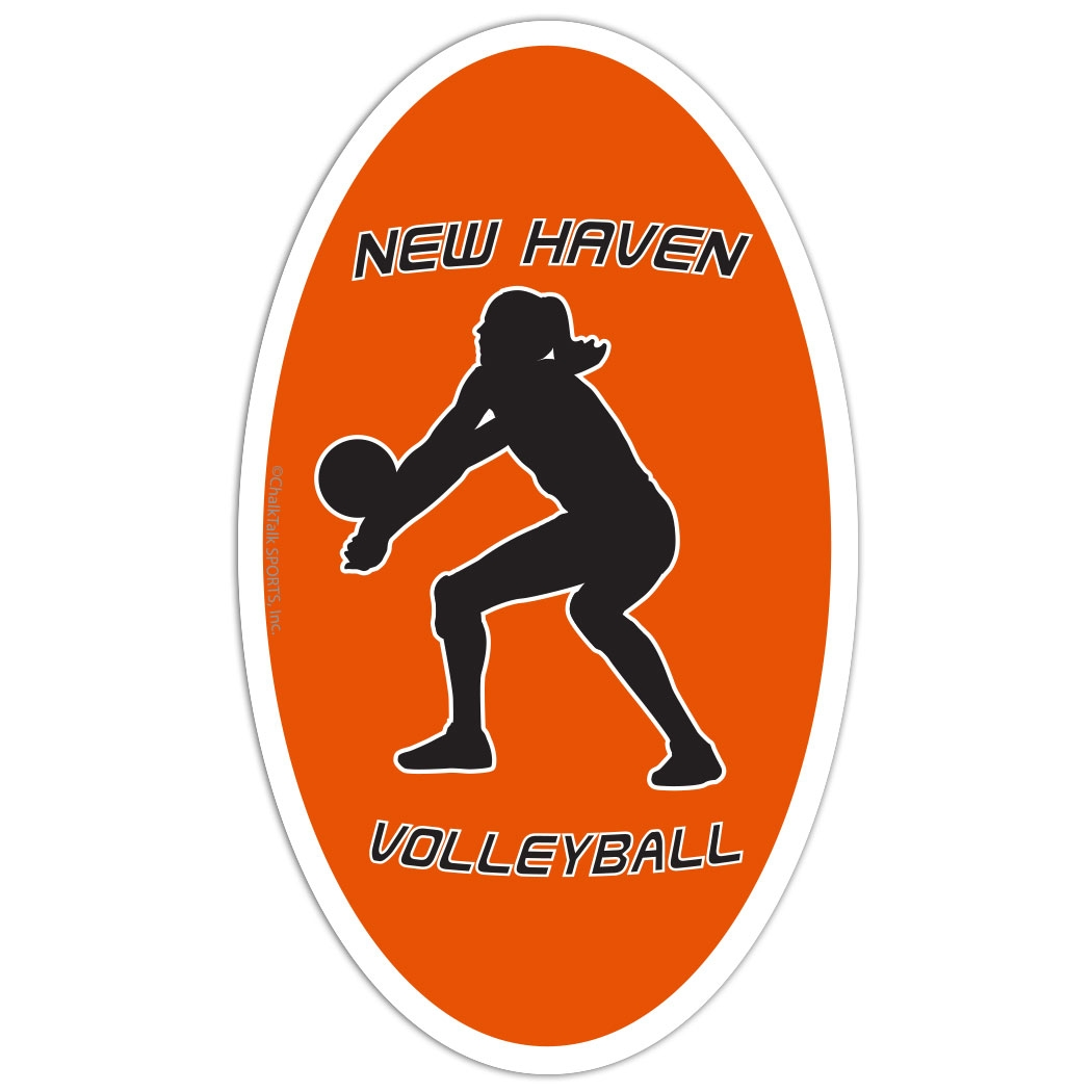 Volleyball Oval Car Magnet Personalized Bump
