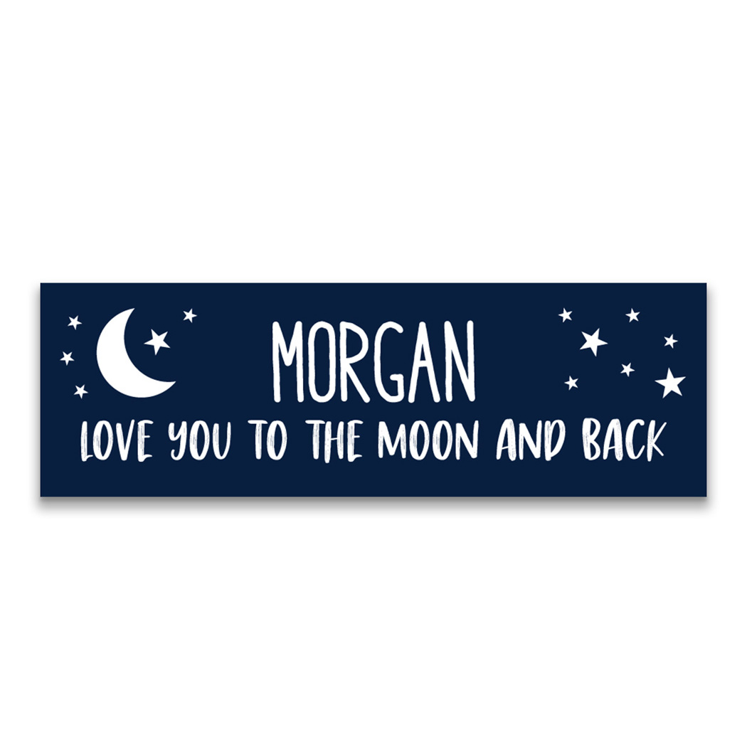 "Personalized 12.5"" X 4"" Removable Wall Tile - Love You To the Moon and Back"