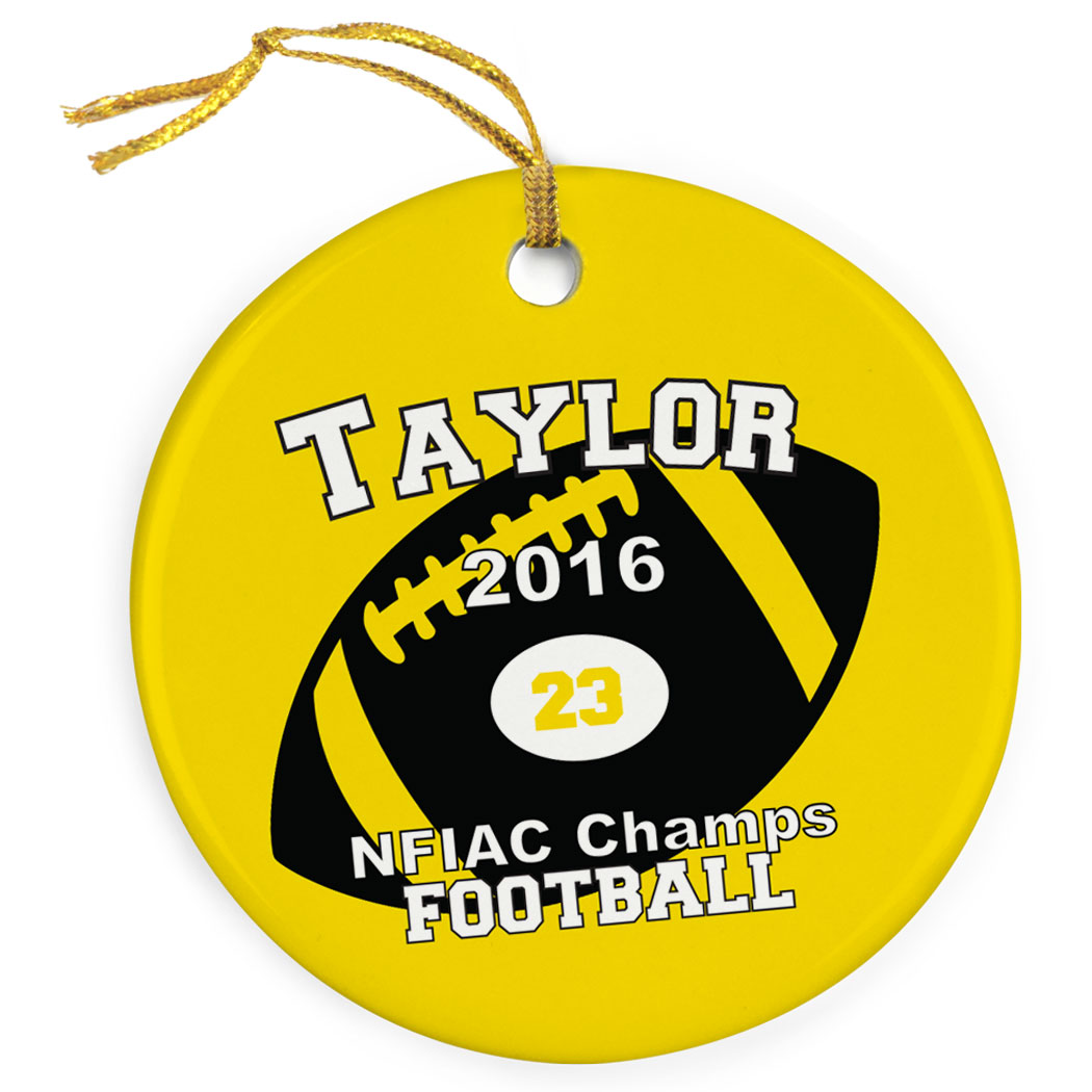 Football Porcelain Ornament Custom Football Team - Personalization Image