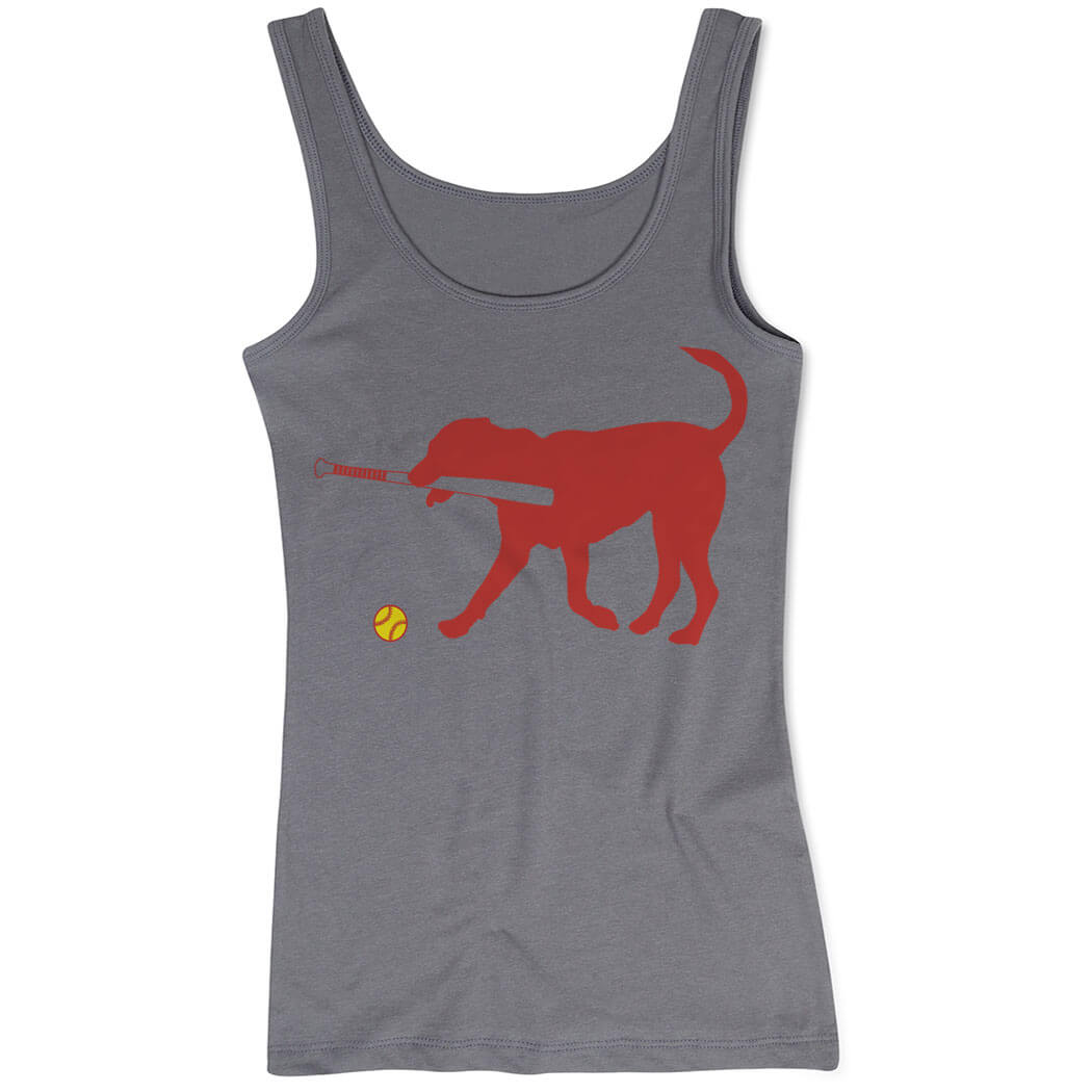 Softball Women's Athletic Tank Top Pitch The Softball Dog