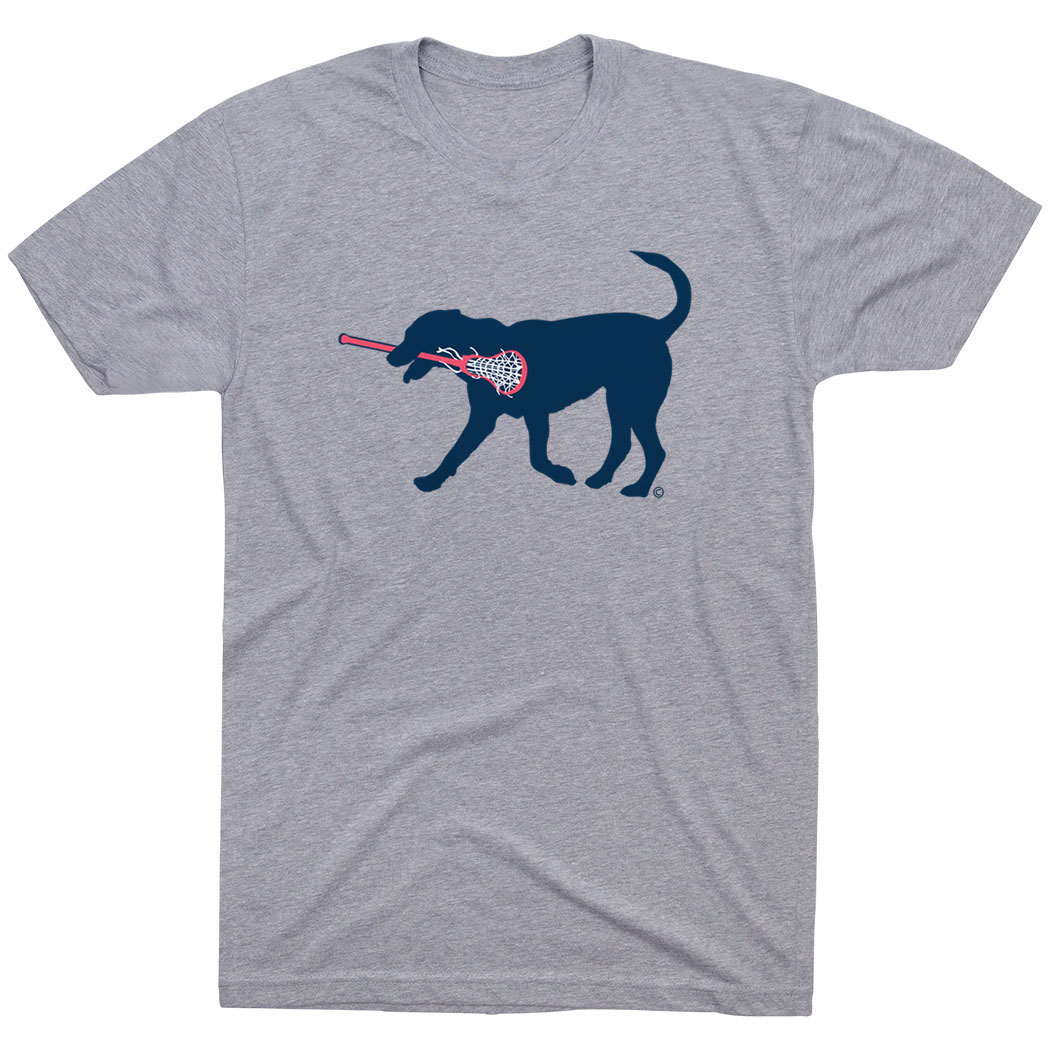 Girls Lacrosse Short Sleeve T-Shirt LuLa the Lax Dog (Blue)