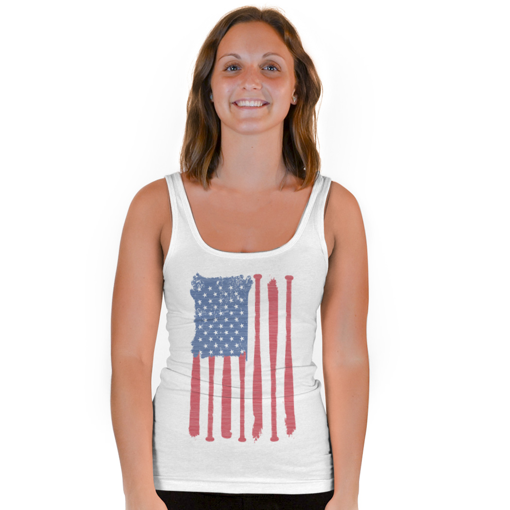 Softball Vintage Fitted Tank Top American Flag