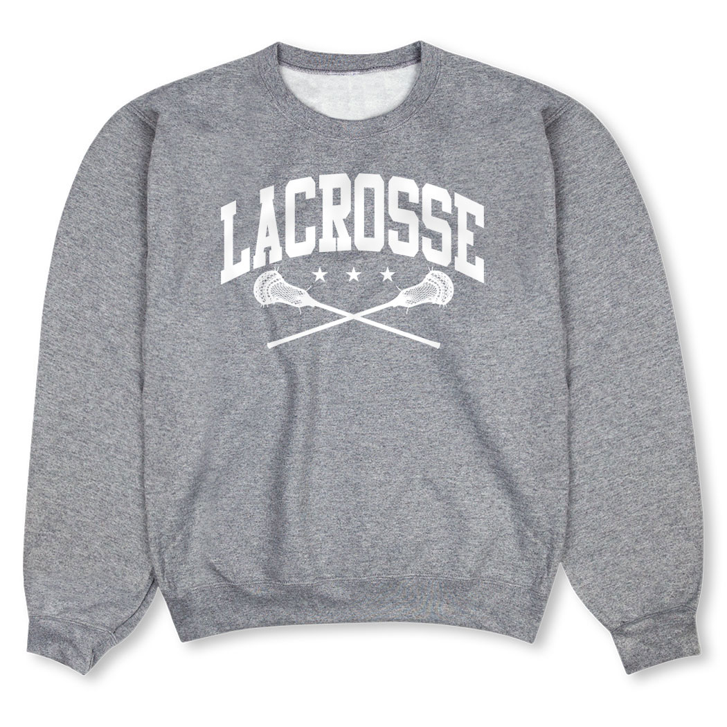 Guys Lacrosse Crew Neck Sweatshirt - Lacrosse Crossed Sticks