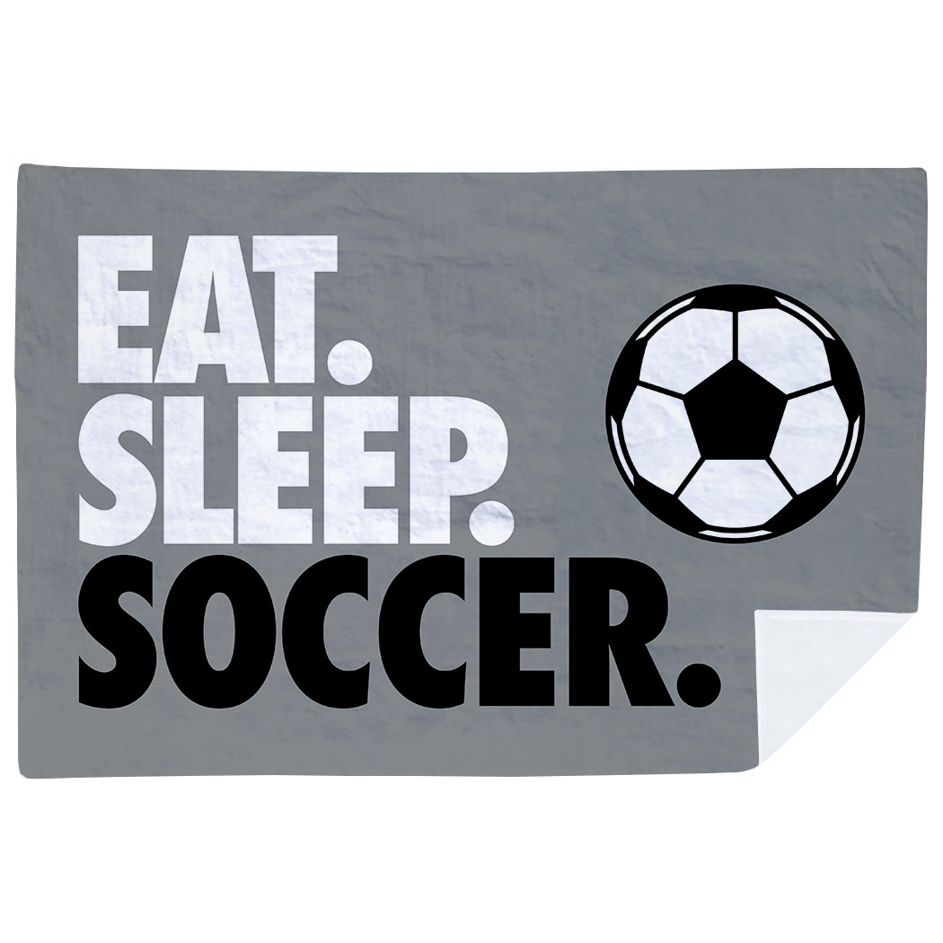Soccer Premium Blanket - Eat. Sleep. Soccer. Horizontal