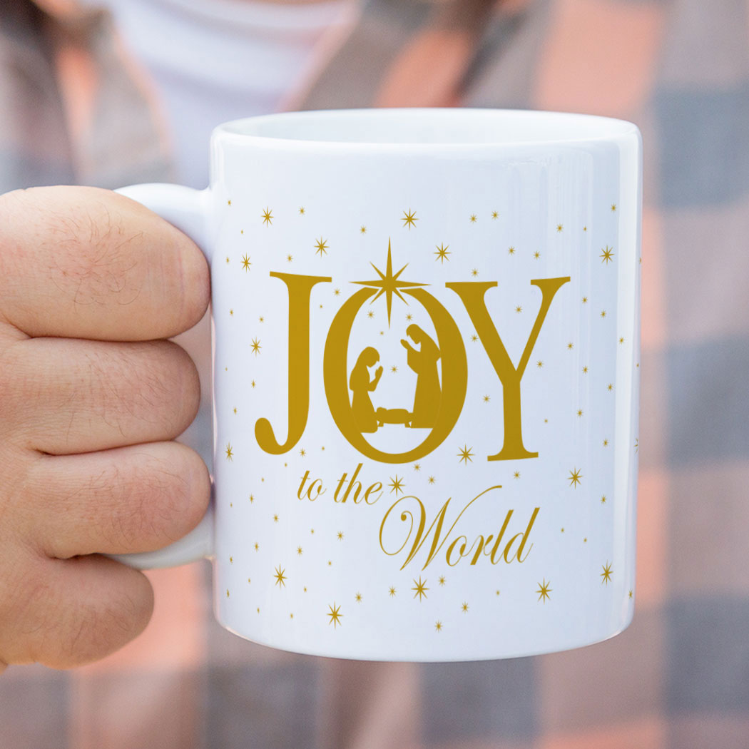 Coffee Mug Joy To The World Nativity Scene Chalktalksports