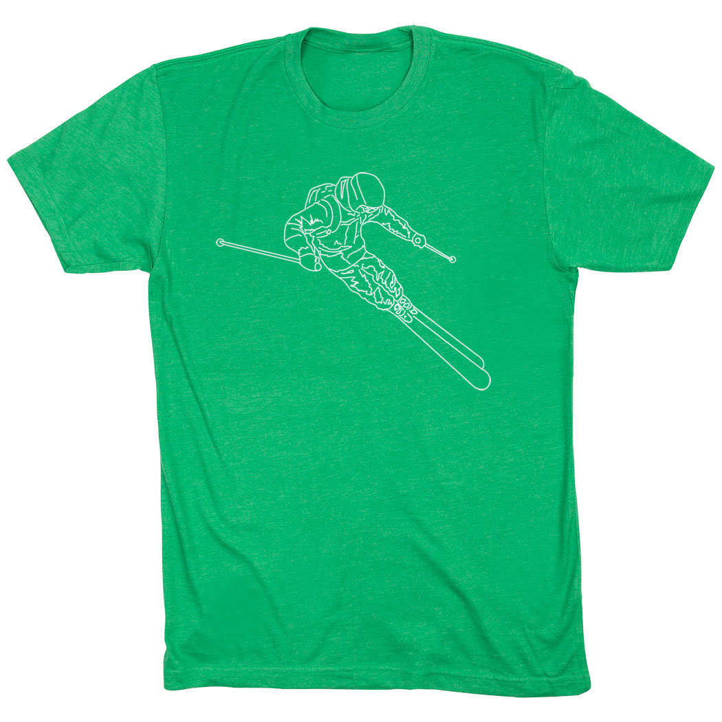 Skiing Short Sleeve T-Shirt - Skier Sketch