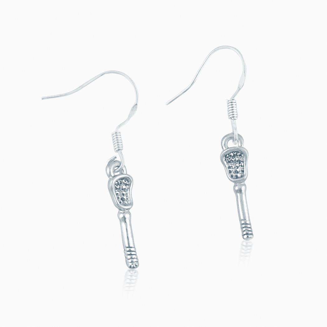 Silver Lacrosse Stick Pendant Earrings with Cubic Zirconias