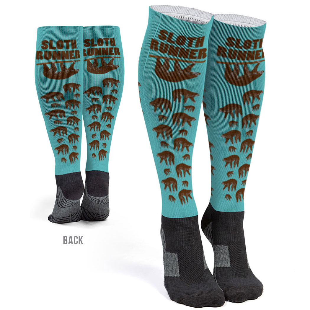 Running Printed Knee-High Socks - Sloth Runner
