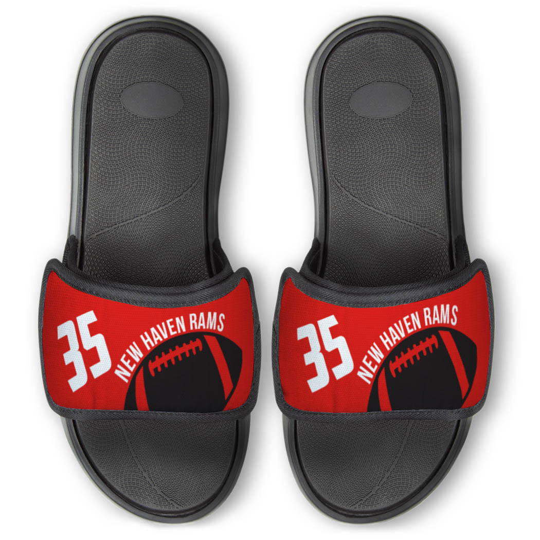 Football Repwell® Slide Sandals - Number and Personalized Ball