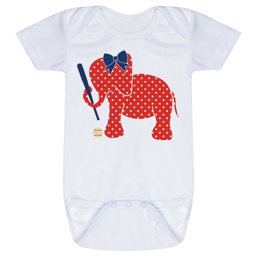 Baseball Baby One-Piece - Baseball Elephant with Bow