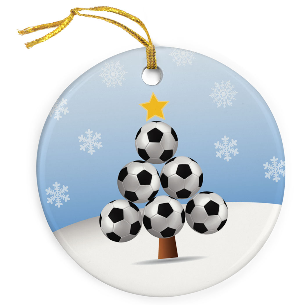Soccer Porcelain Ornament Ball Christmas Tree - Personalization Image