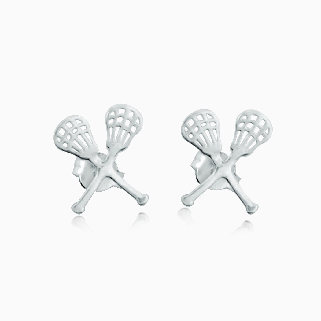 Livia Collection Sterling Silver Crossed Lacrosse Sticks Post Earrings