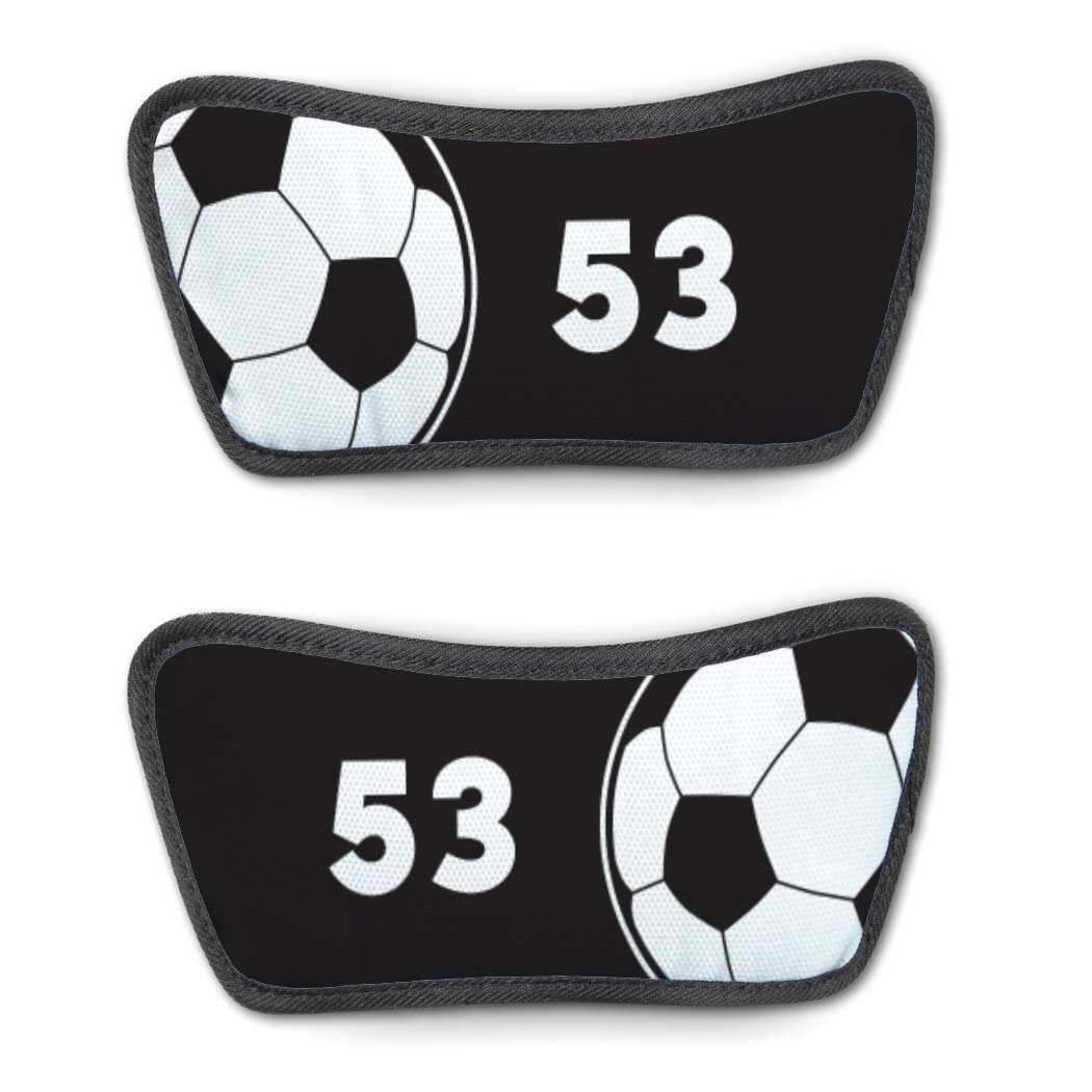 Soccer Repwell® Sandal Straps - Ball and Number Reflected - Personalization Image