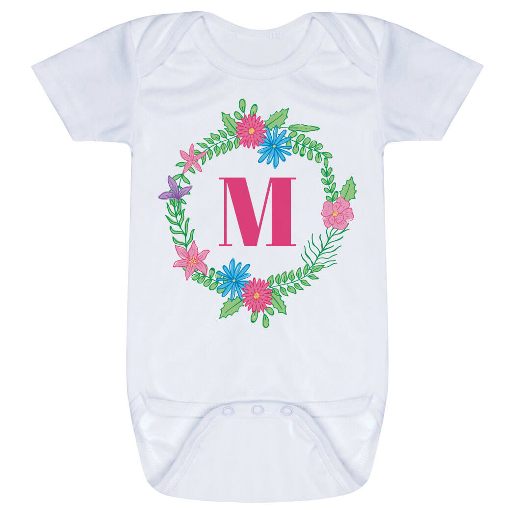 Personalized Baby One-Piece - Single Initial Floral Wreath
