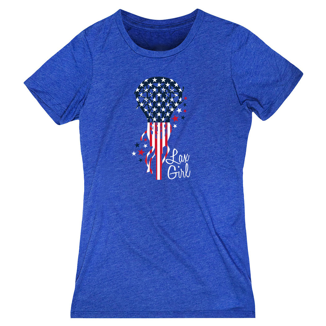 Girls Lacrosse Women's Everyday Tee - Patriotic Lax Girl