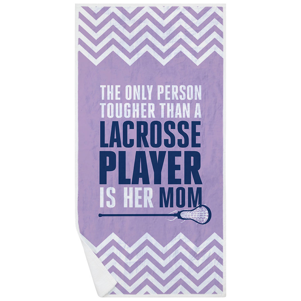 Girls Lacrosse Premium Beach Towel - Tougher Than A Lacrosse Player