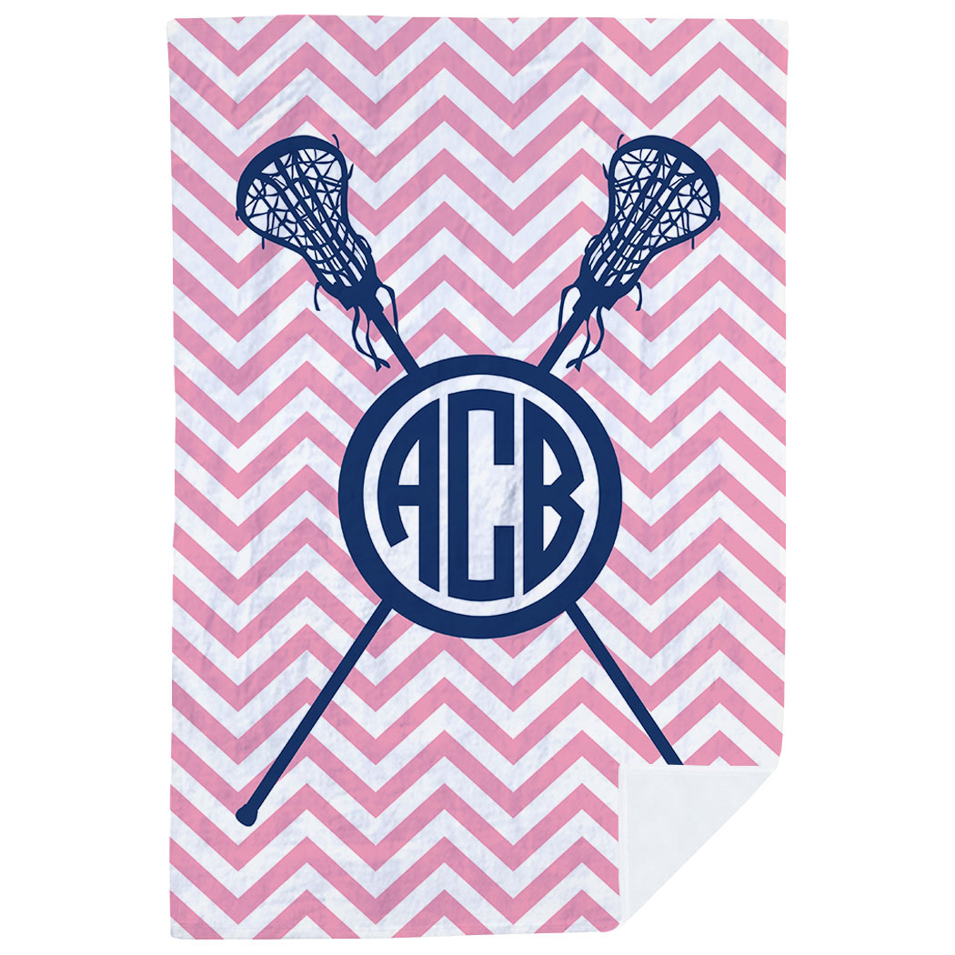 Girls Lacrosse Premium Blanket - Monogram with Crossed Sticks and Chevron - Personalization Image