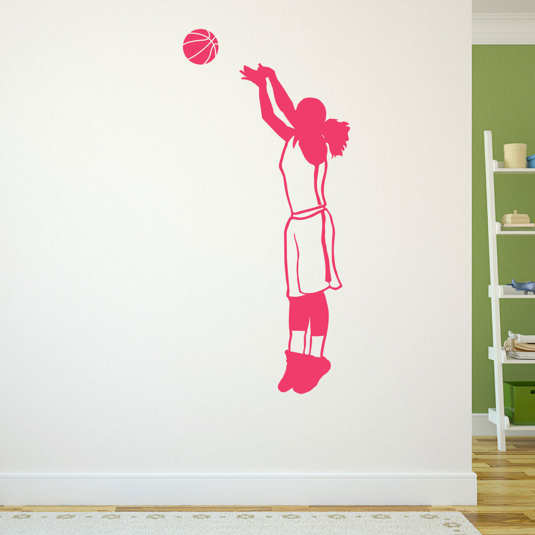 Basketball Girl Silhouette Removable ChalkTalkGraphix Wall Decal