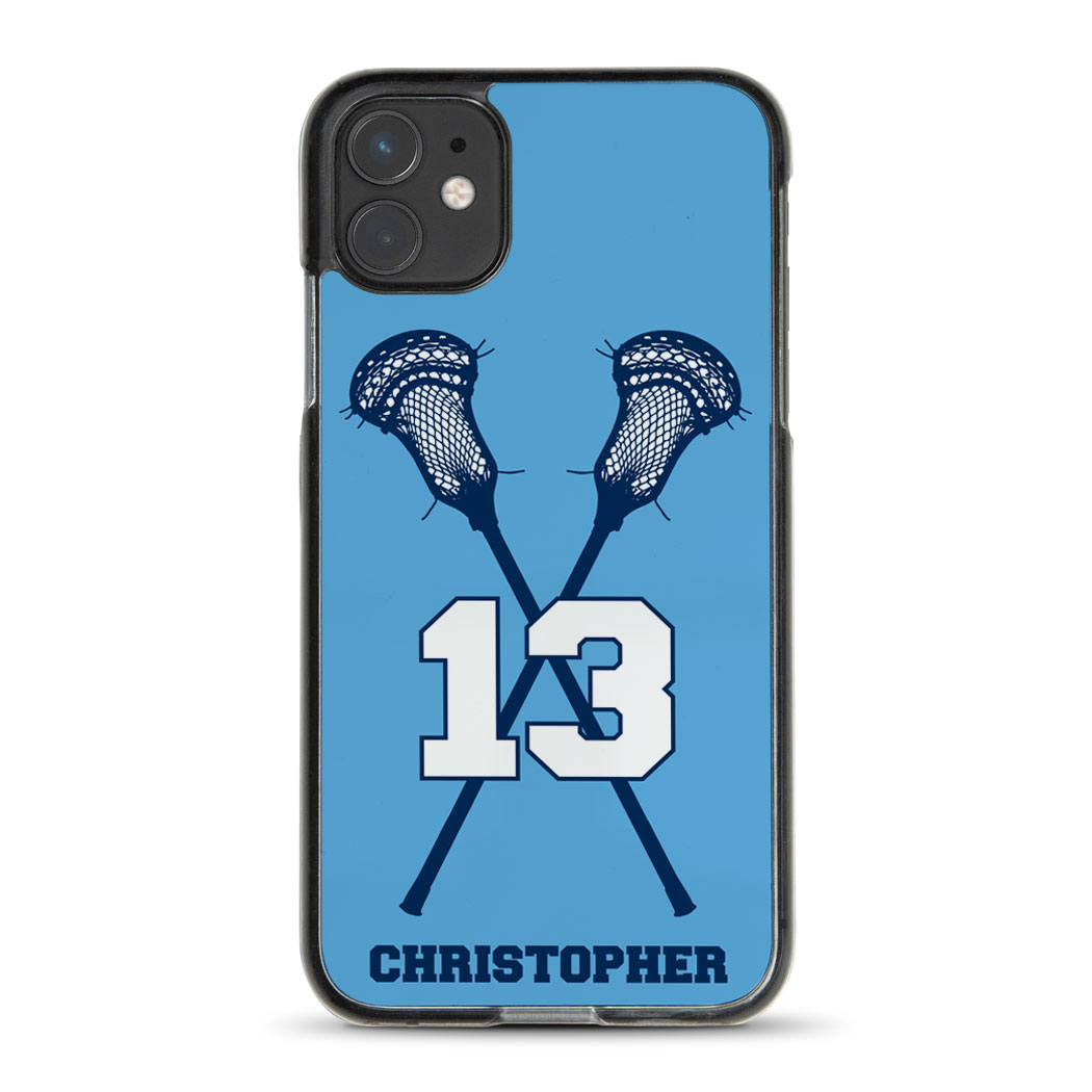 Guys Lacrosse iPhone® Case - Personalized Crossed Sticks