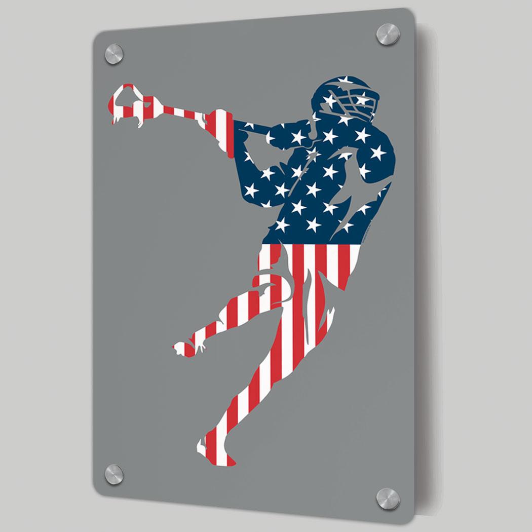 Guys Lacrosse Metal Wall Art Panel American Flag