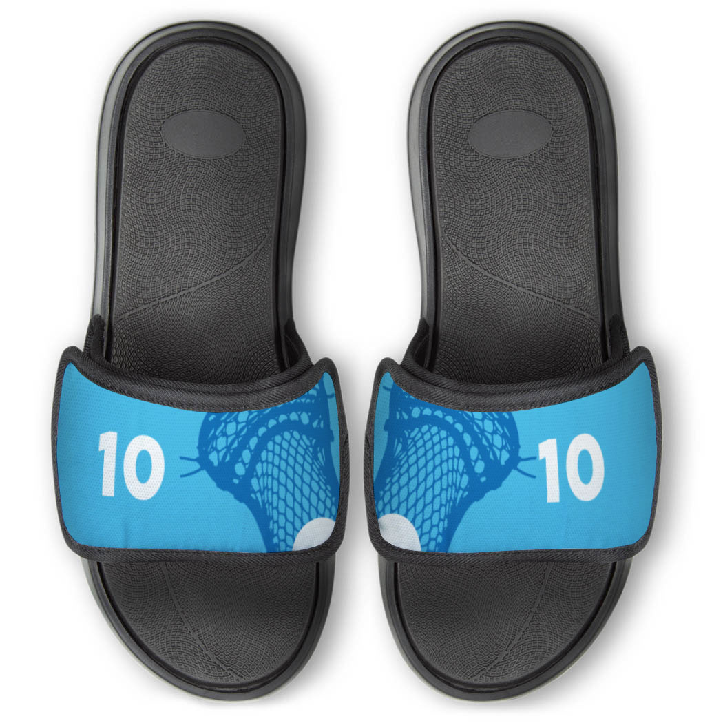Guys Lacrosse Repwell® Slide Sandals - Stick and Number Reflected - Personalization Image