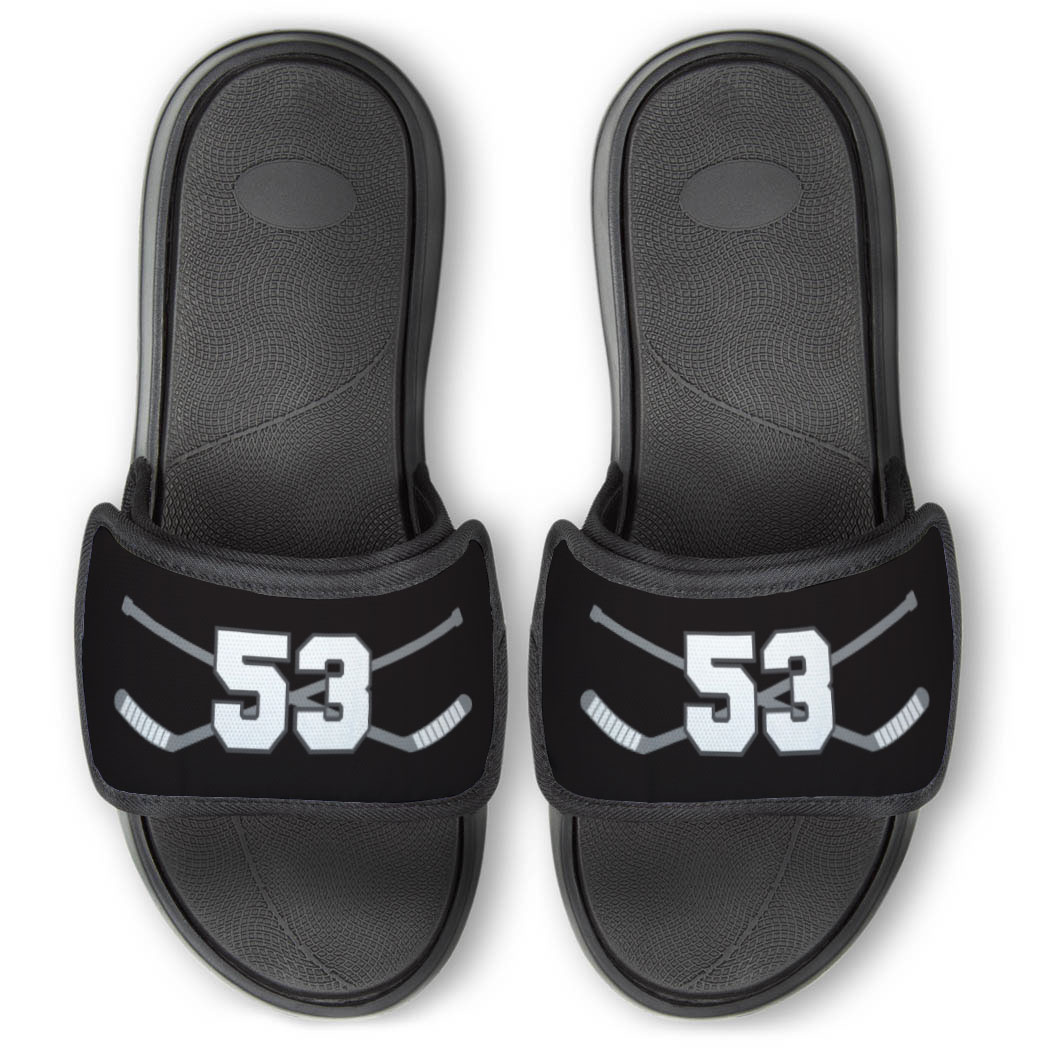 Hockey Repwell® Slide Sandals - Hockey Crossed Sticks with Number