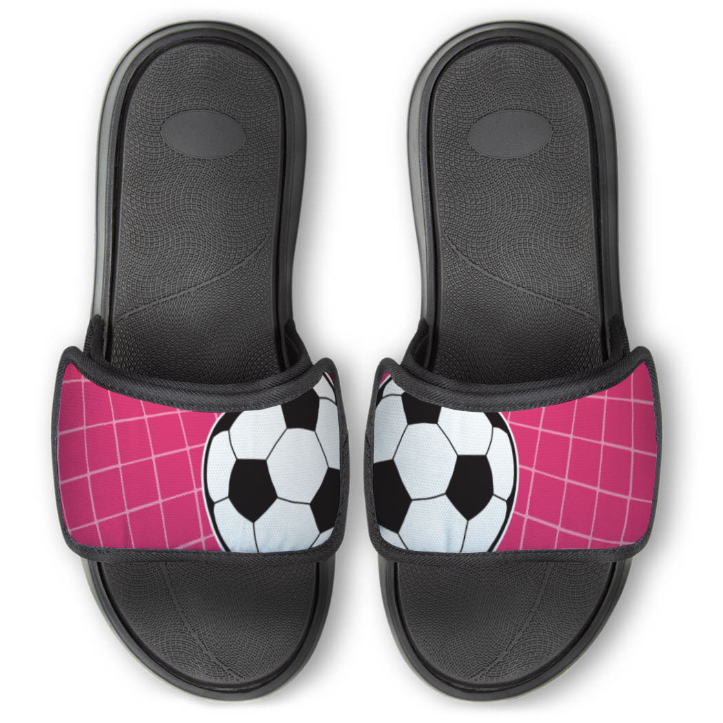 Soccer Repwell® Slide Sandals - Ball Reflected