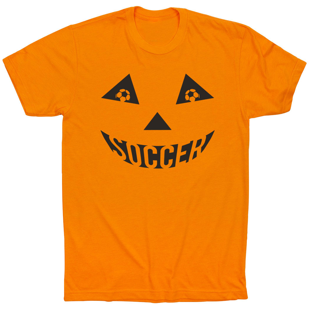 Soccer Short Sleeve Tee - Soccer Pumpkin Face - Personalization Image