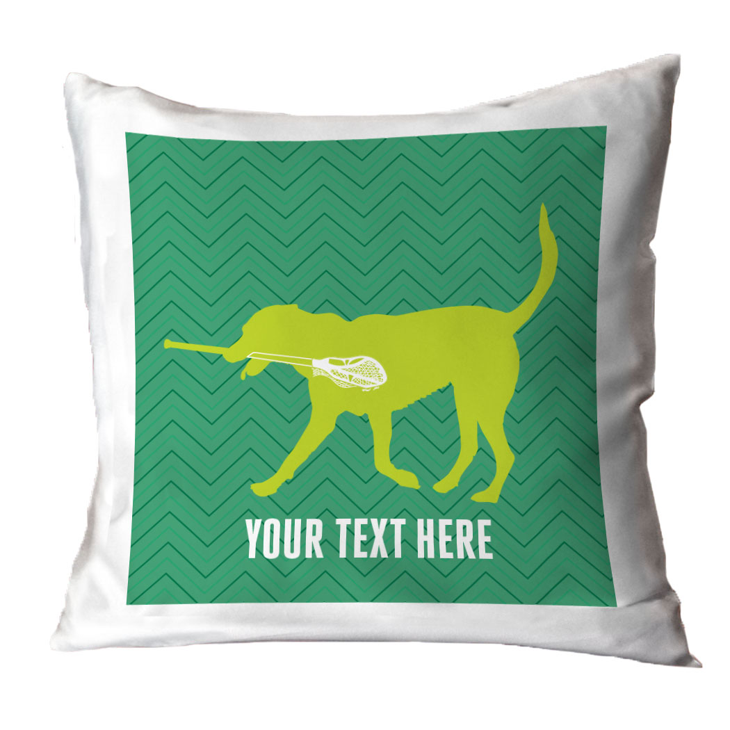 Guys Lacrosse Throw Pillow Max The Lax Dog ChalkTalkSPORTS