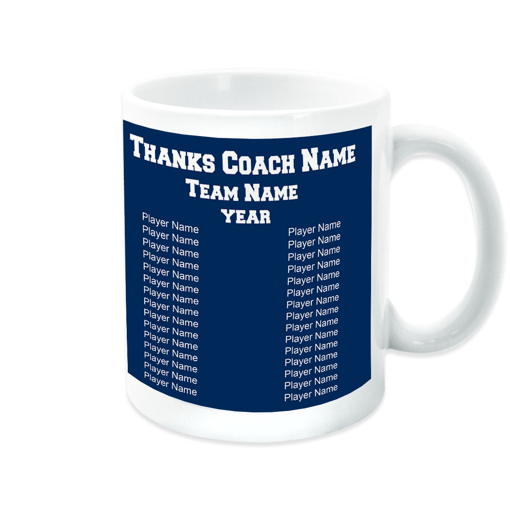 Hockey Coffee Mug Thanks Coach Custom Logo With Team Roster