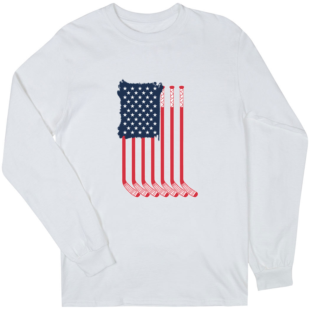 Hockey Long Sleeve T-Shirt - American Flag - Personalization Image