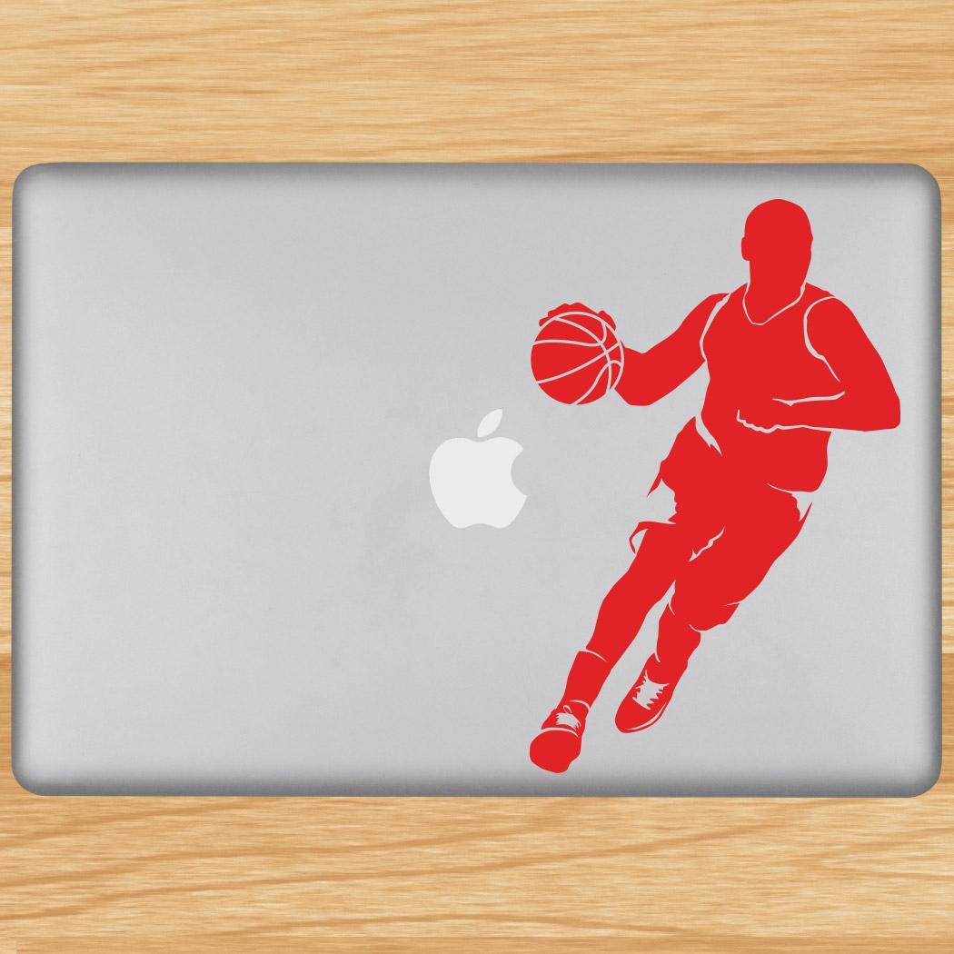 Basketball Guy Dribbling Silhouette Removable ChalkTalkGraphix Laptop Decal