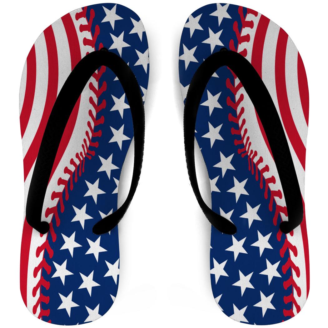 Softball Flip Flops Stitched American Flag