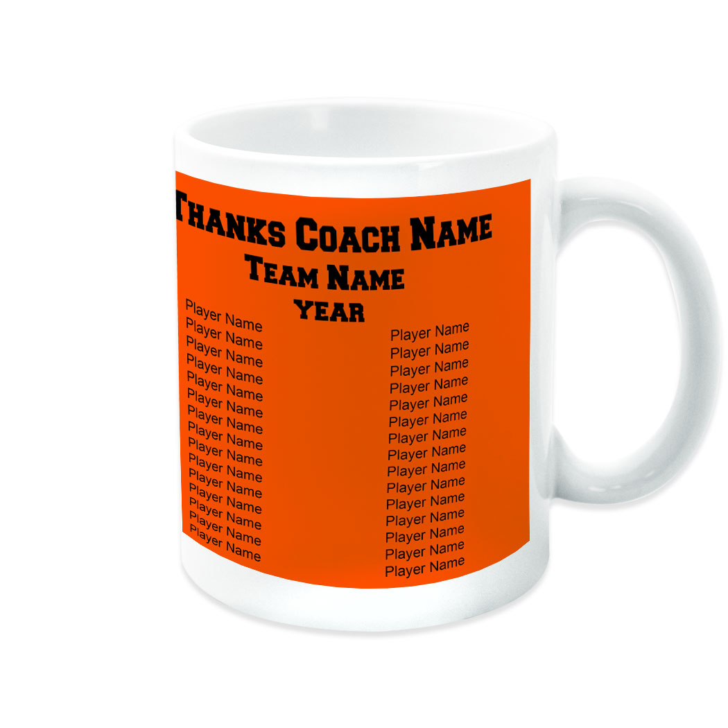 Softball Coffee Mug Thanks Coach Custom Logo With Team Roster - Personalization Image
