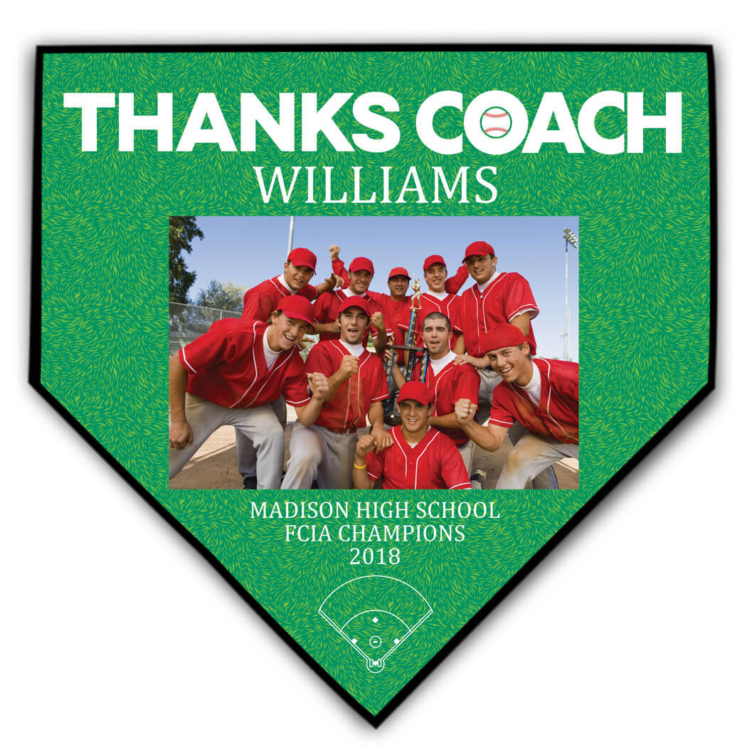 Baseball Home Plate Plaque - Thank You Coach Photo - Personalization Image