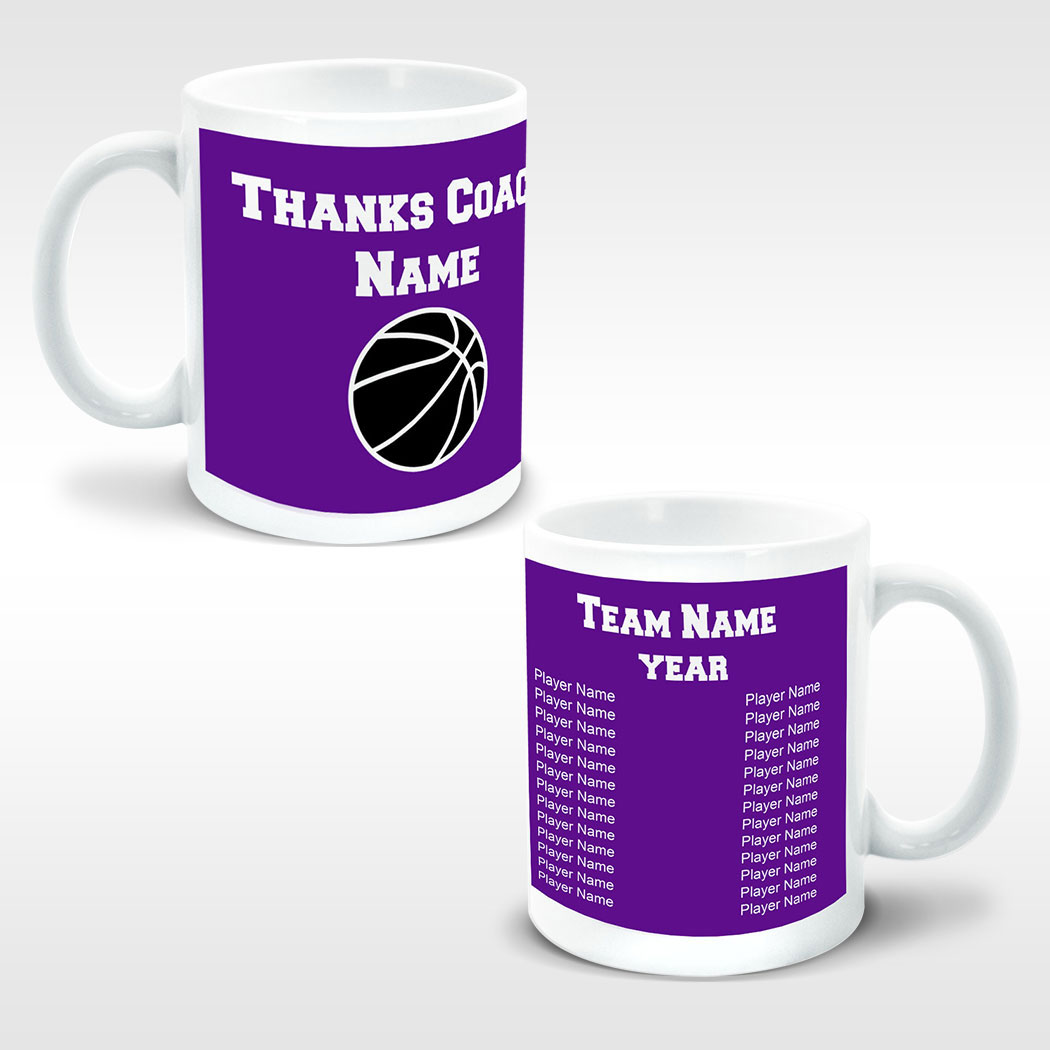 Basketball Coffee Mug Thanks Coach Ball Graphic With Team Roster