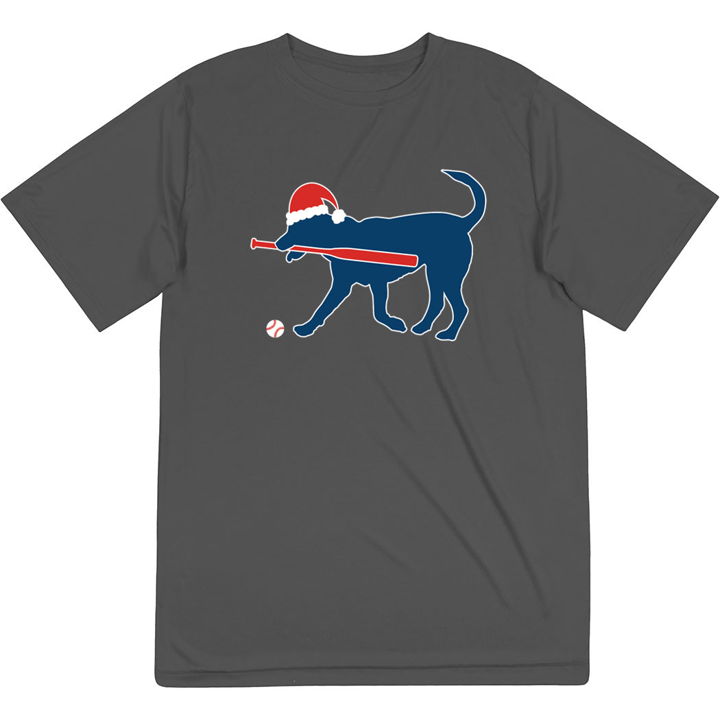 Baseball Short Sleeve Performance Tee - Play Ball Christmas Dog